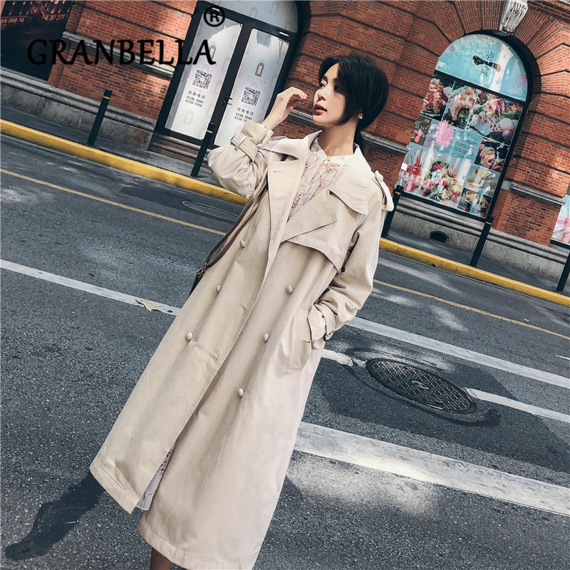 2019 Hot Loose Medium-length Windbreaker Solid Color Double Breasted Waist Belt Office Lady Elegant Fashion Female   Trench   Coat