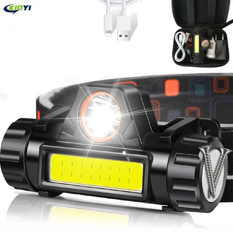USB Rechargeable LED Headlight Powerful XPE+COB Headlamp Head Torch IPX6 Waterproof Head Light With 1200mAh Built-in Battery