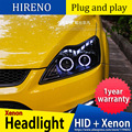 Hireno Car styling case for Ford Focus 2009-2013 Headlights LED Headlight DRL Lens Double Beam HID Xenon
