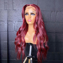 Body Wave Wig 99J Red Burgundy Pre Plucked Human Hair Wigs 180% Brazilian Remy Hair Lace