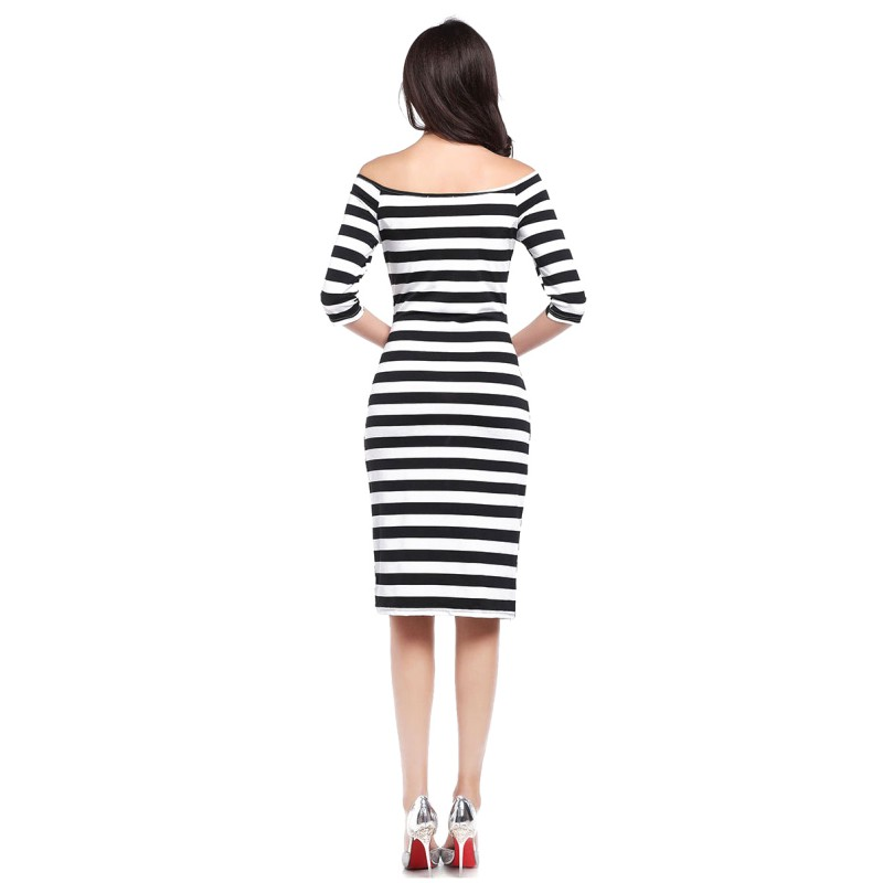 Knee Length Female Casual <font><b>Sexy</b></font> <font><b>Dress</b></font> <font><b>A</b></font> <font><b>line</b></font> <font><b>Slash</b></font> Neck <font><b>Dresses</b></font> 2019 Autumn Women Off Shoulder Stripe <font><b>Dress</b></font> image