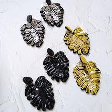 Bestessy Handmade Leaf Shape Beads Earrings For Women Girls Big Dangle Drop Earrings  Party Trendy Statement Ear Jewelry Gift xzp metal halloween silver plate spider charm earrings drop dangle trendy animal ear jewelry for women girls party accessories