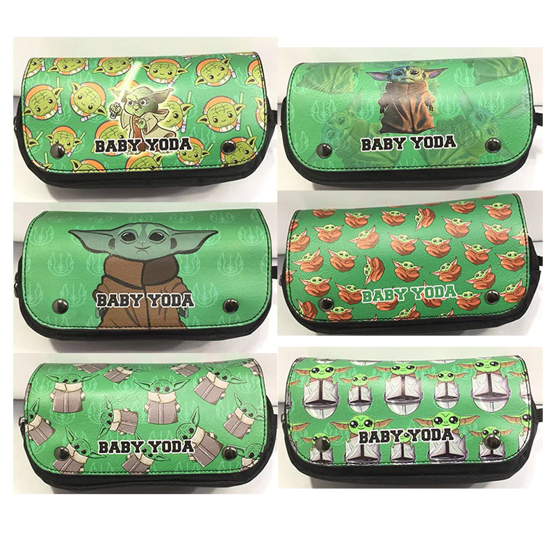 New Arries Yoda Master Pencil Bags Leather Cover Canvas Lining Pencilcase Cute Cartoon Star Wars Cosmetic Bag Case