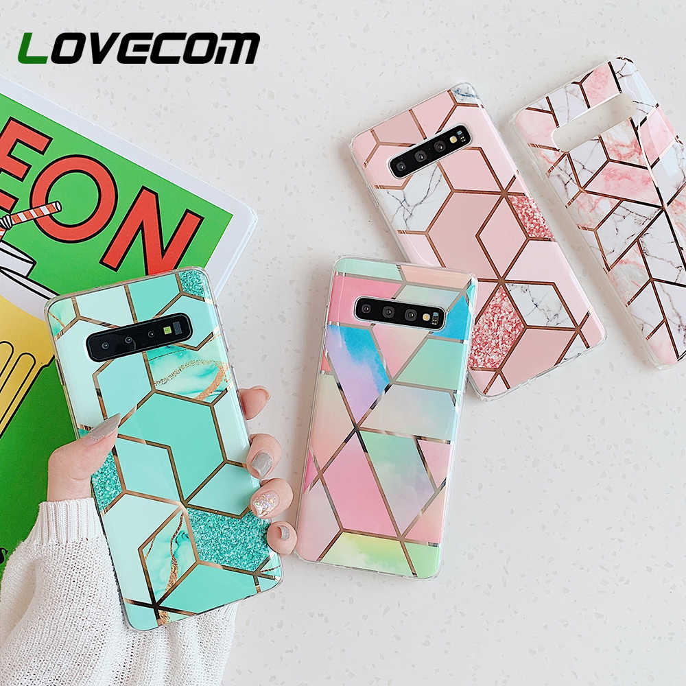 LOVECOM Marble โทรศัพท์กรณีสำหรับ Samsung Galaxy หมายเหตุ 10 Pro A50 A40 A70 S10 Plus S10e Electroplated Soft IMD ปกหลัง