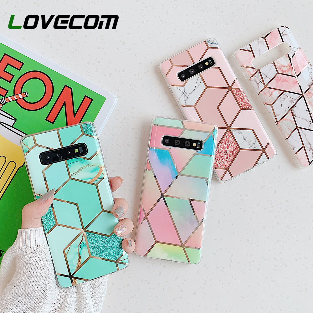 LOVECOM Geometric <font><b>Marble</b></font> Phone <font><b>Case</b></font> For <font><b>Samsung</b></font> <font><b>Galaxy</b></font> Note 10 Pro <font><b>A50</b></font> A40 A70 S10 Plus S10e Electroplated Soft IMD Back Cover image