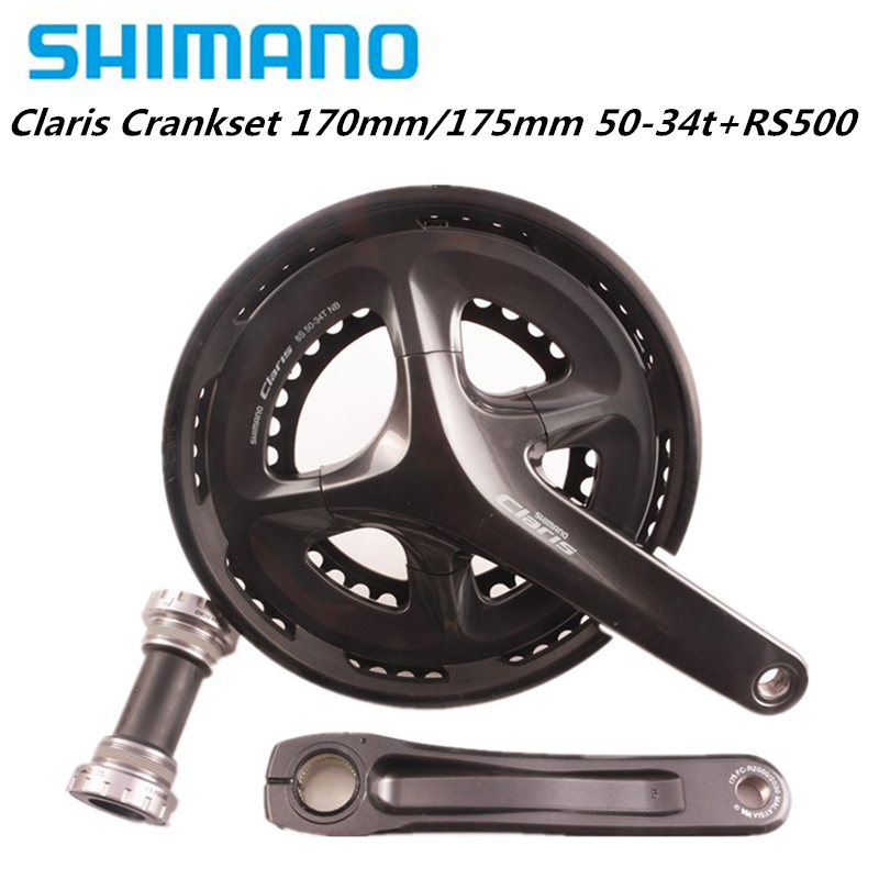 <font><b>Shimano</b></font> <font><b>Claris</b></font> <font><b>R2000</b></font> 8 Speed Road Bike Bicycle Crankset 170mm 50 34T 175mm 50 34TWith rs500 BB Bottom Bracket Road Pedivela image