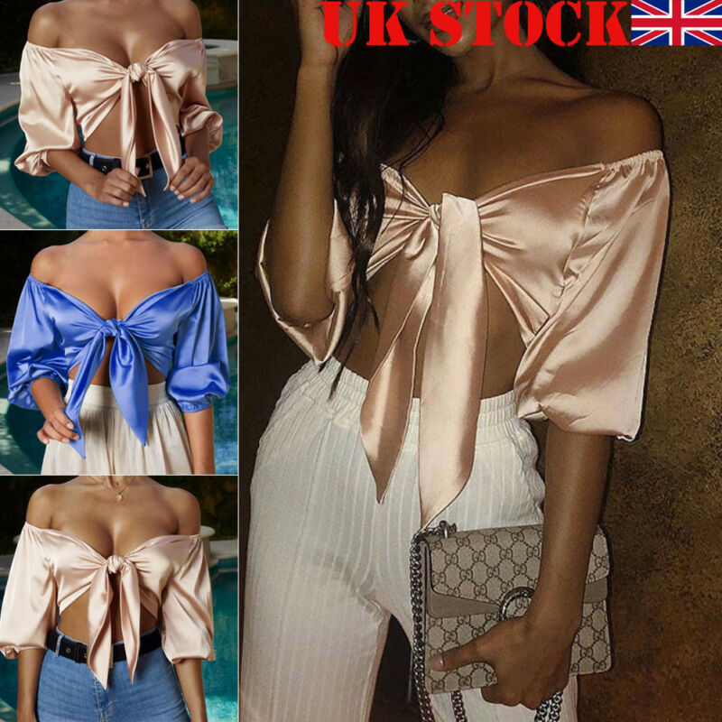 Goocheer Sexy Slash Neck Top Women Off shoulder 3 4 Sleeve Cropped Shirts Bow Tie T Shirt Summer Party Tee Shirts Satin Clothes in T Shirts from Women 39 s Clothing