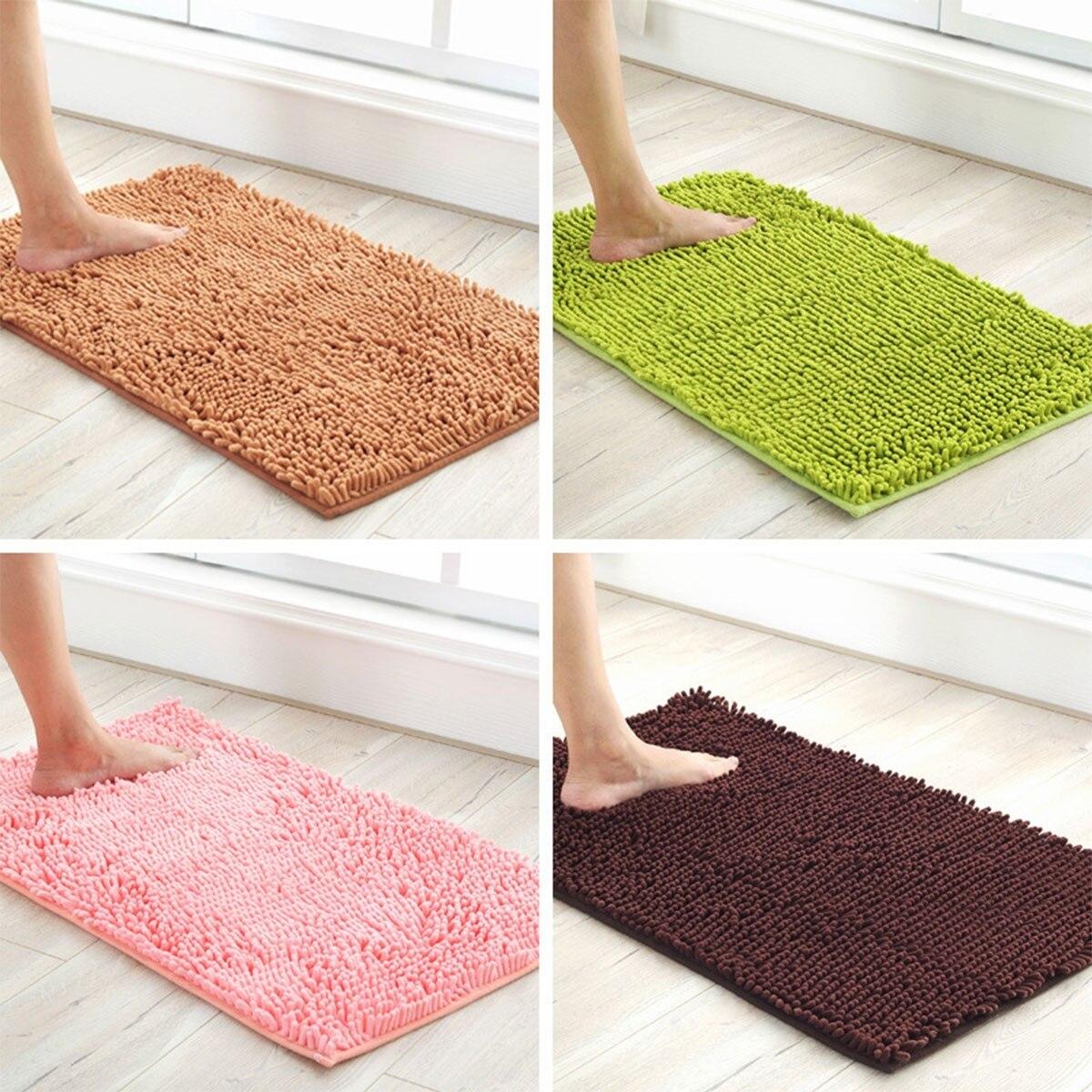 Soft Microfiber Shaggy Anti Slip Absorbent Bath Mat Bathroom Shower Rugs Carpet