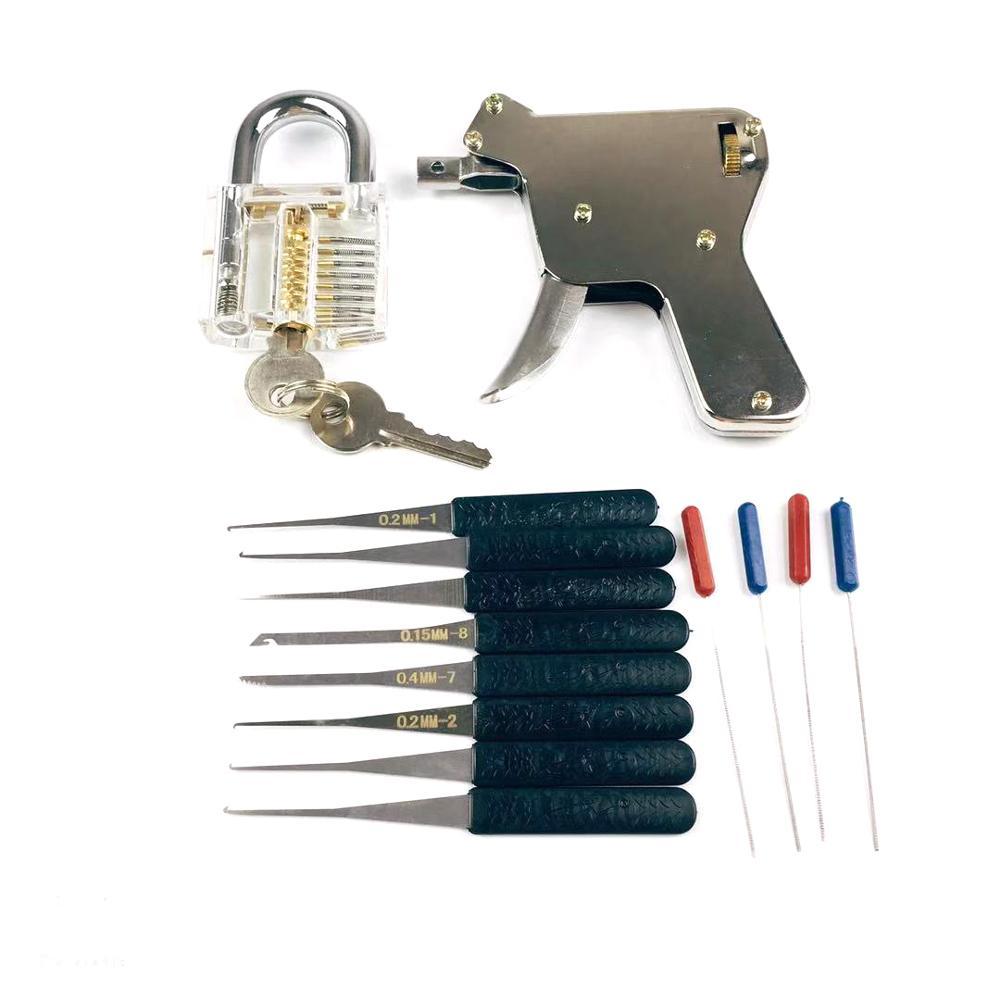 cheapest New Locksmith ToolsLock Gun with Transparent Practice Locks Broken Key Extractor Pick Tool Great Lock Pick Practice Set