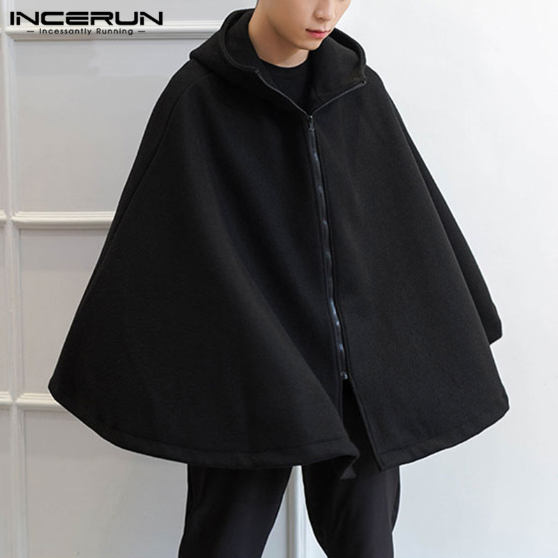 Fashion Men Trench Solid Hooded Zipper Streetwear 2020 Loose Cloak Cape Sleeveless Punk Style Coats Winter Trench S-5XL INCERUN