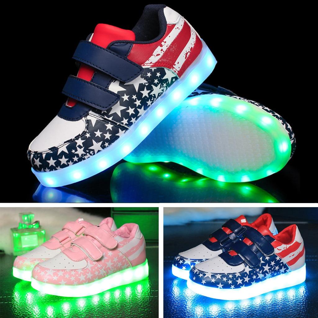 Red 25 Alamana Autumn Fashion Lovely Kids LED Light Sneaker Sport Anti-Slip Casual Shoes
