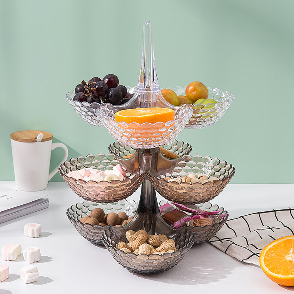 Creative Stacked European Storage Tray Multi-Layer Plastic Dried Fruit Snack Platter Bowl Table Snack Candy Tray Rack Organizer