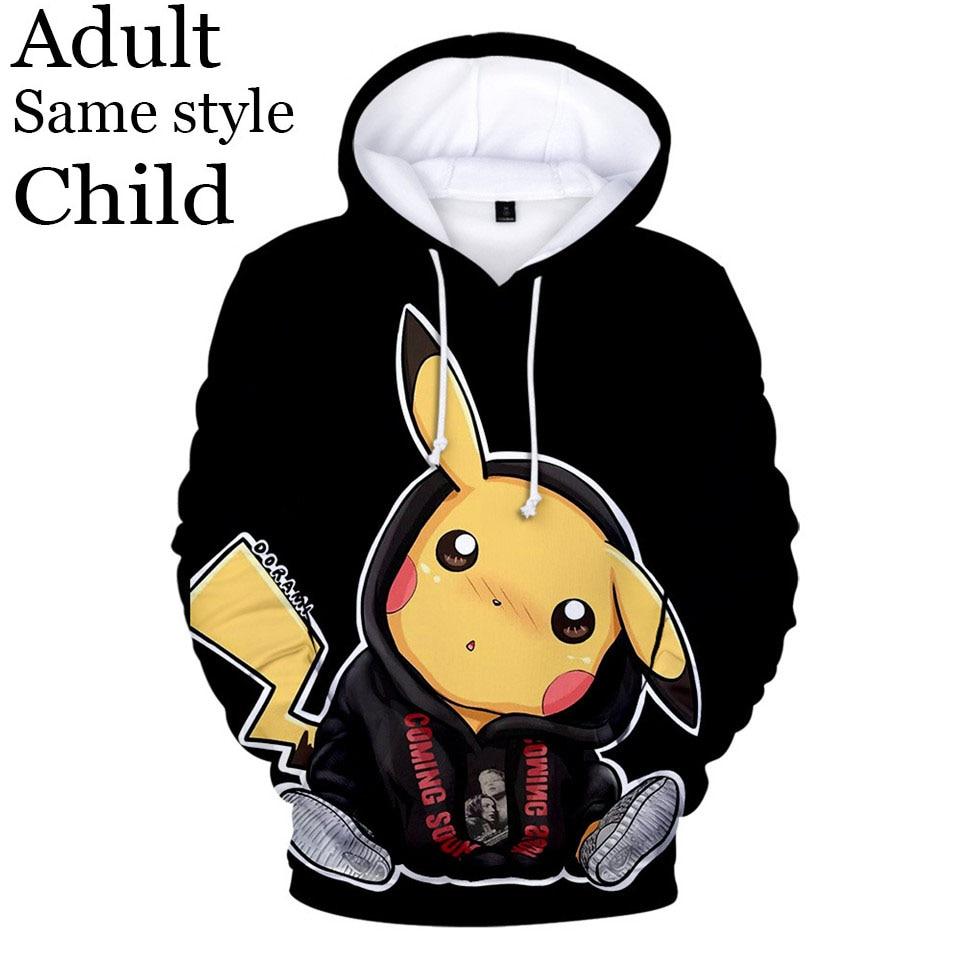 New Fashion Clothing Hoodies Pokemon Pikachu Print 3D Hoodie Boy Girl Anime Sweatshirt Men's Women's Pocket Casual Hoodie 4xl