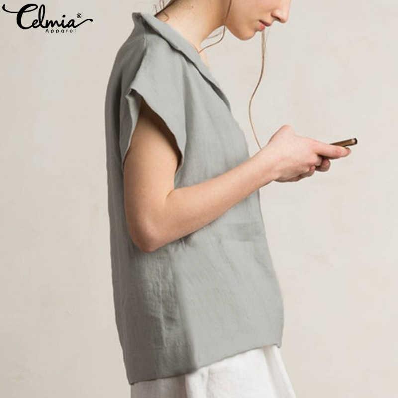 Celmia kobiety w stylu Vintage lniane topy bluzki plus size 2019 lato V Neck koszule z krótkim rękawem nieformalna tunika kobiet Blusas Femininas