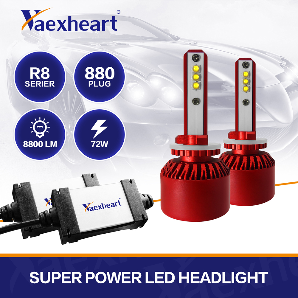 Vaexheart 2 шт. H1 H4 светодиодный автомобилей головной светильник H7 светодиодный светильник с 6500K 8000LM лампы H1 H3 9006 880 Автомобильная Противо-Туманна...