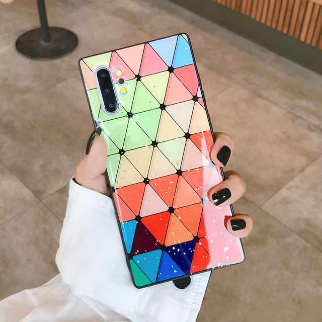 Fashion Bling Spliced Leopard Cover For Samsung Note 10 8 9 Multi-Color Grid Gold Foil Soft Cases For Samsung Galaxy S10 Plus S9