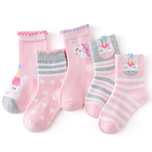 Soft Socks CN Winter Children's Girl Baby Teens Kids Cartoon Cotton Fashion Cute 5-Pairs/Lot
