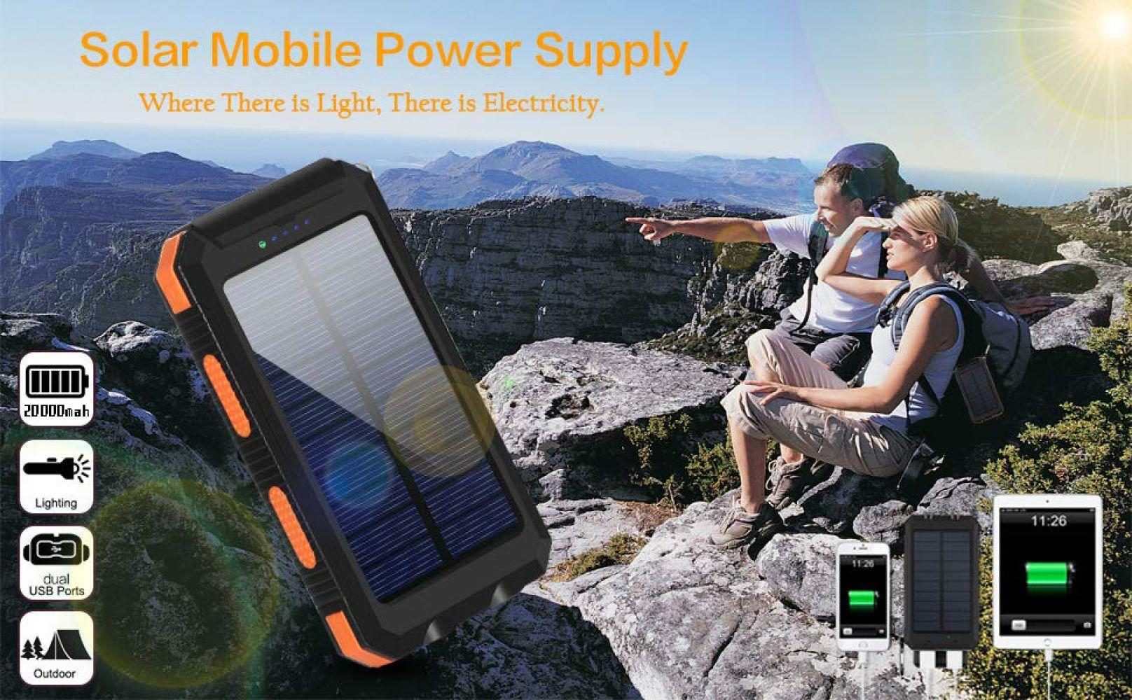 20000mAh High-Capacity Solar Power Bank with Polycrystalline Solar Panel and Dual LED Light 10