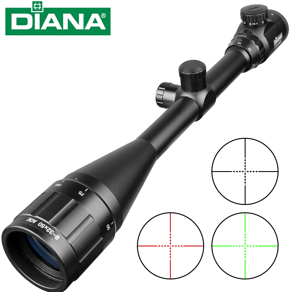 Tactical 8-32X50 Rifle Optics Red Dot Green Sniper Scope Compact Riflescopes Hunting Scopes