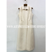 Sleeveless silk wool dress ladies lapel elegant retro