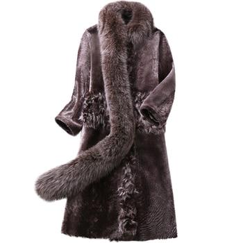 ¡Novedad! chaqueta de cuero y lana abrigada para invierno, abrigo de piel...