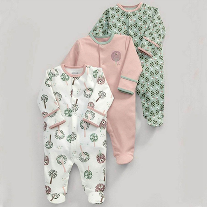 Spring And Autumn Models Big Tree Grass Cotton Long-sleeved Baby Onesies Haber Romper 3 Sets 50cm(White & Pink & Green)