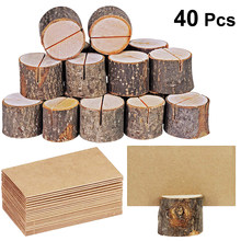 20pcs Wood Pile Name Place Card Photo Holders Wooden Bark Memo Holder Menu Number Memo Stand Wedding Party Table Decor(China)