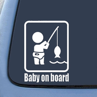 Car Stickers Funny Fishing Baby on Board Car Vehicle Reflective Decals Sticker Decoration Auto Products Car Accessories 4