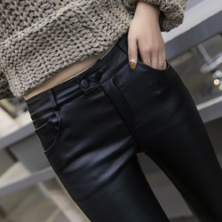 2019 winter leather pants women's high waist plus velvet leggings women's outer pants women's matte pants