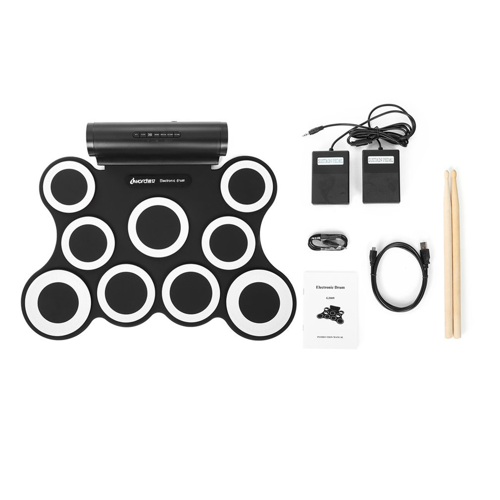 Portable Roll Up Electronic Drum Set Kits 3009 9 Pads Built-in Speakers With Foot Pedals Drumsticks USB Cable For Practice