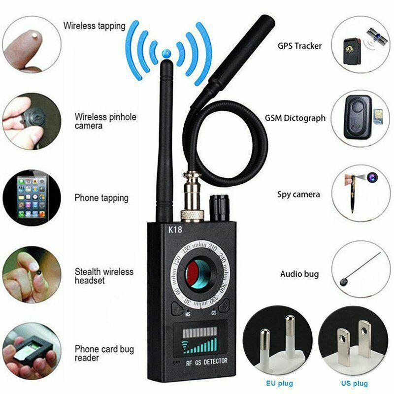 1MHz-6500MHz K18 Multi-function Anti Detector Camera GSM Audio Bug Finder GPS Signal Lens RF Wireless Tracker Detect US Plug
