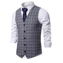 M-3XL New Mens Vest Business Casual Plaid Vests For Men Spring Autumn Fashion Sleeveless Commuting