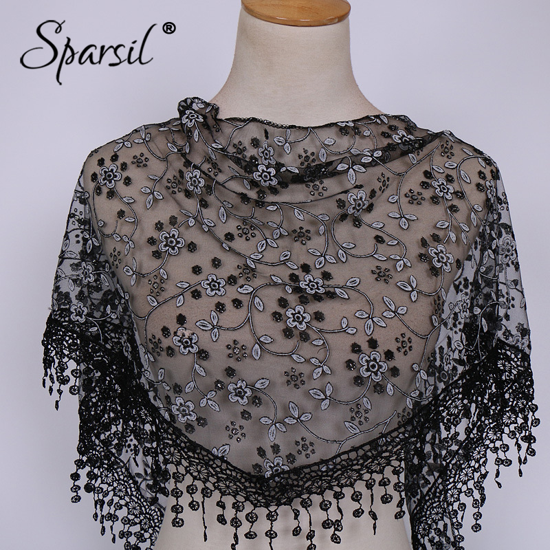 Spasril Ladies Lace Floral Hollow Wraps Short Tassel Triangle Scarves Solid Color All Match Women Scarf Accessories 18 Colors