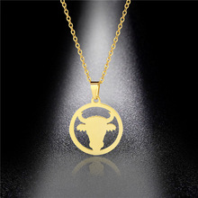 Popular Titanium Steel Round Pendant Stainless Steel Bull Head Necklace Hip Hop Hiphop Jump Di Simple Pendant men titanium steel overbearing tiger head pendant necklace so235