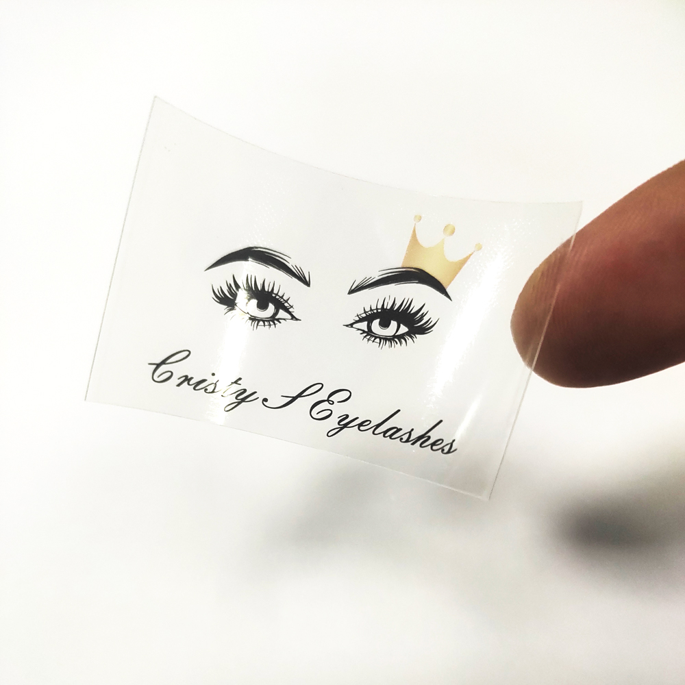 Clear PVC Stickers Personalise Logo Stickers Transparent Lashes Labels Waterproof Adhesive 100pcs