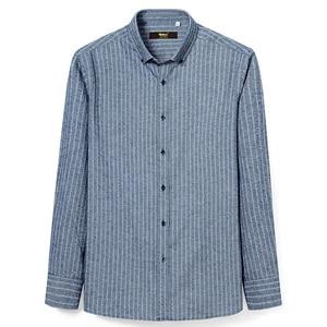 Image 2 - Chemise manches longues pour homme, chemise Standard, confortable, à rayures brossées, décontracté coton, 100%