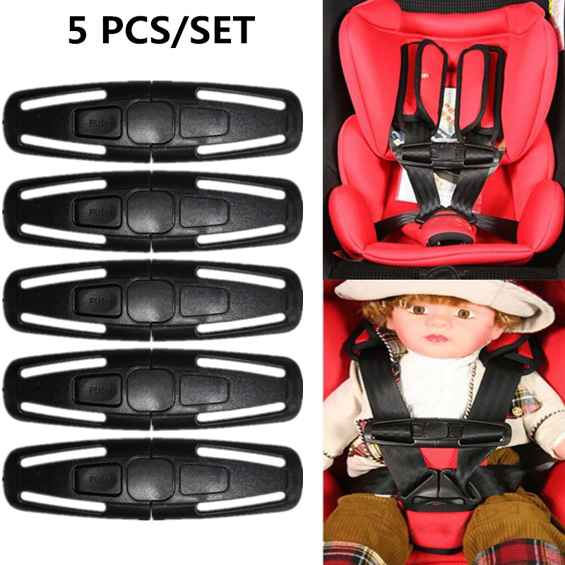 5 Pcs Car Safety Seat Strap Belt Harness Chest Clip Lock Buckle Nylon Latch Fastener for Baby Children