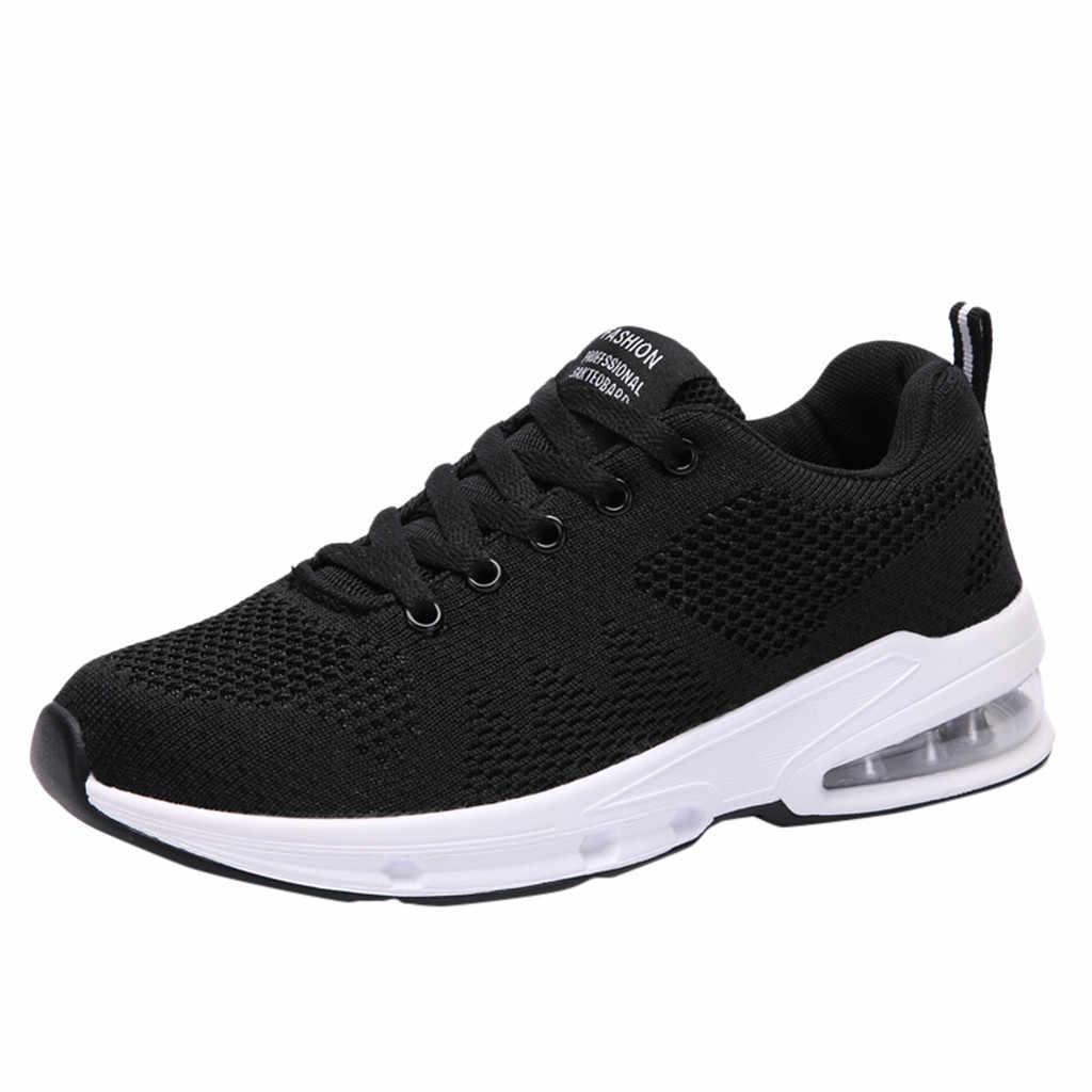 Bayan Run Sneakers rahat nefes örgü rahat hafif yürüyüş spor ayakkabı kadın kaymaz sonbahar spor ayakkabı bayanlar için