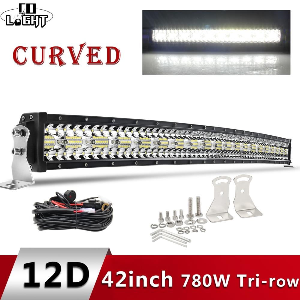 CO LIGHT 3-Rows Led Light Bar Curved 780W 42 Inch Offroad 4x4 Led Bar Car Spot Flood Combo Work Lights For Truck UAZ SUV 12V 24V