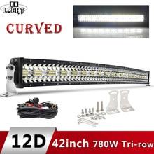 CO LICHT 3-Reihen Led Licht Bar Curved 780W 42 zoll Offroad 4x4 Led Bar Auto spot Flut Combo Arbeit Lichter für Lkw UAZ SUV 12V 24V