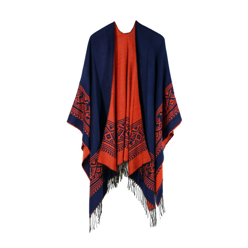 Bohemian Tassled European And American-Style Hot Selling Long Thick Faux Cashmere Autumn And Winter Cultural Travel Slit Shawl C