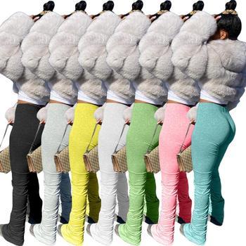 2020 modne ubrania ułożone spodnie do biegania z rozcięciem sznurkiem ułożone legginsy spodnie dresowe damskie tanie i dobre opinie COTTON Pełnej długości HR8099 Stałe Na co dzień Spodnie pochodni Mieszkanie skinny Osób w wieku 18-35 lat Plisowana