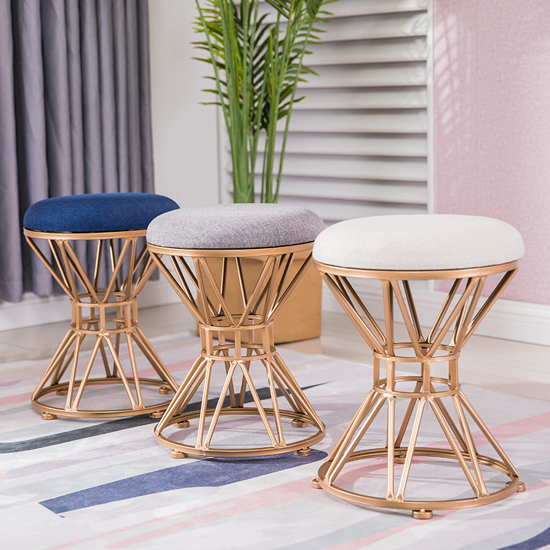 2North Dressing Stool Fashion Wrought Iron Stool Fabric Change Shoe Bench Bedroom Dressing Table Chair Nail Makeup Stool