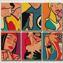 Superhéroes Vintage cartel de papel Kraft Batman Hulk pegatina de pared para la decoración de la habitación de los niños impresa Kraft Arte de papel pintura
