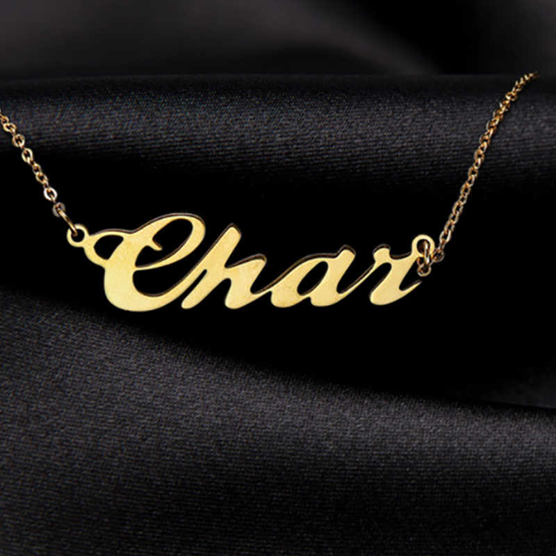 Personalized Name Necklace,Gold Color Stainless Steel  Custom Necklaces For Gift Nameplate Pendant Choker Not Change Color