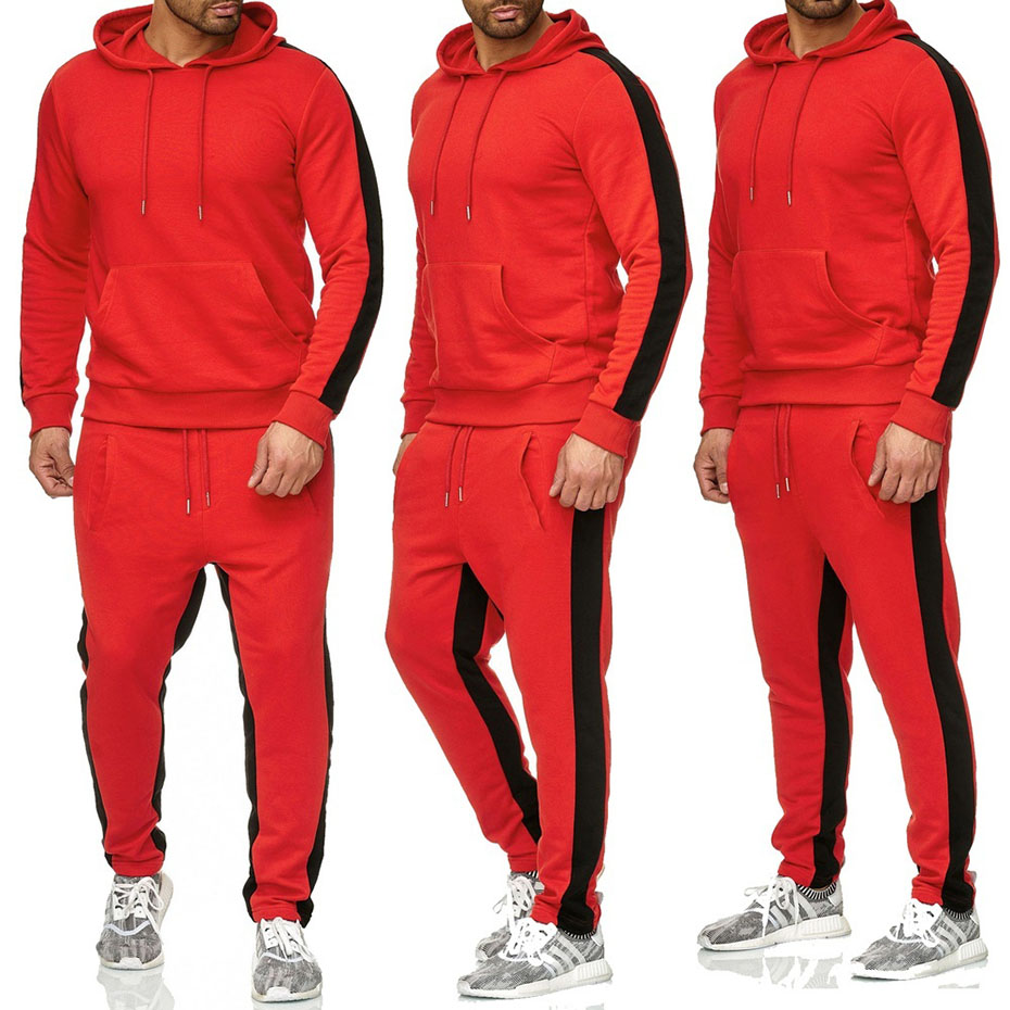 Zogaa 2018 New Men' Fashion 2 Parts Hooded Sweatshirt And Sport Pants Set Mens Track Suit Set Gym Sport Running Suit Solid Color