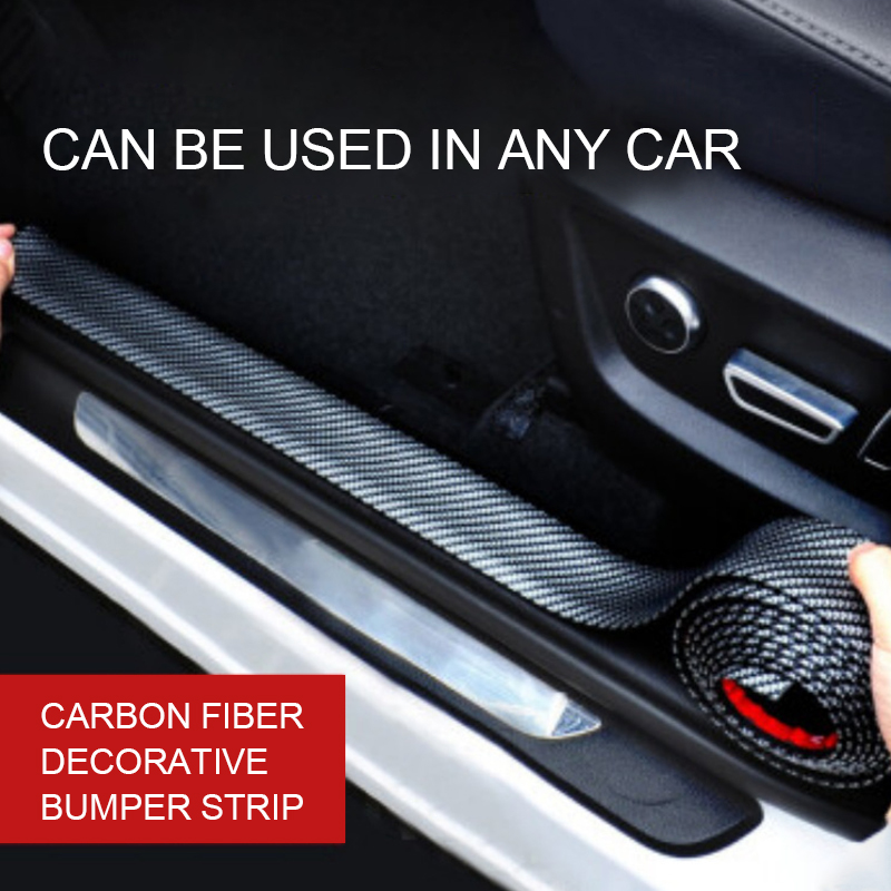 5D Carbon Fiber Rubber Door Sill Protector Styling Mouldings Bumper Strip DIY Door Edge Guards Trim For Car Accessories Stickers