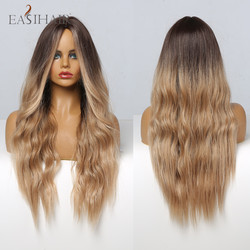EASIHAIR Long Synthetic Wavy Wigs for Women Ombre Dark Brown Blonde Curly Hair Wig Middle Parting Heat Resistant Daily Party