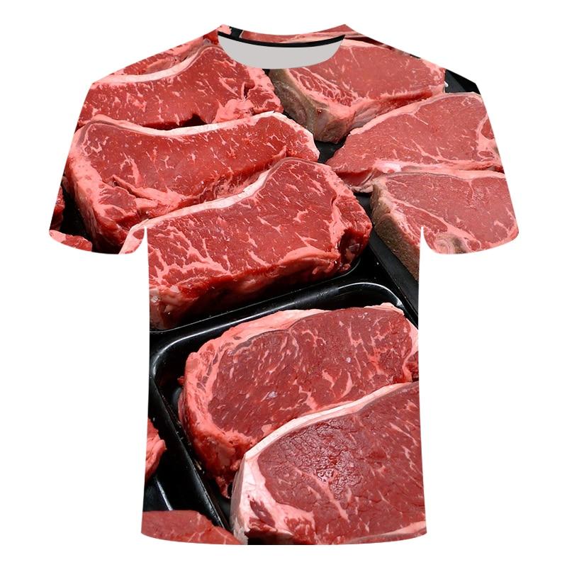 2021 Hot Sale Men's and Women's 3D Printed Black Pork T-shirt Fun Hip Hop Street Shirt Animal Food Steak Fresh Parent-child Pers
