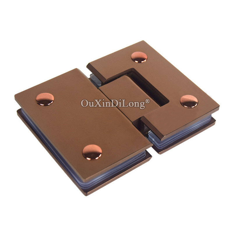2PCS Stainless Steel Frameless Shower Glass Door Hinges 135 Degree Wall to Glass Fixed Clamps Holder Brackets Rose Gold